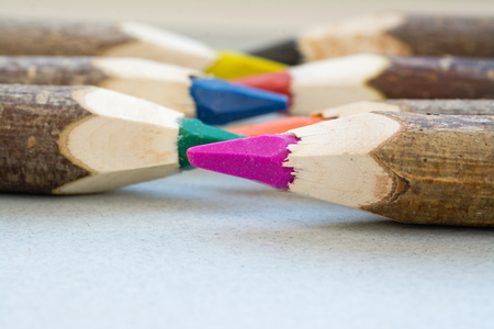 back to school supplies: Handmade color crayons with wood paneling