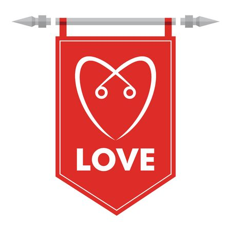 romance: Love - abstract romance icon with hearth sign on flag. Illustration for your presentation template. Illustration