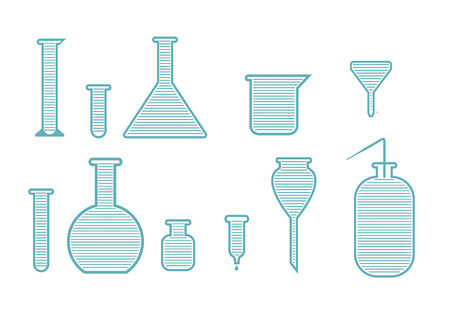 a solution tube: Laboratory equipment set. Abstract vector illustration.