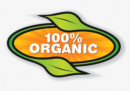 illsutration: Organic products label. Illsutration with abstract leaf.