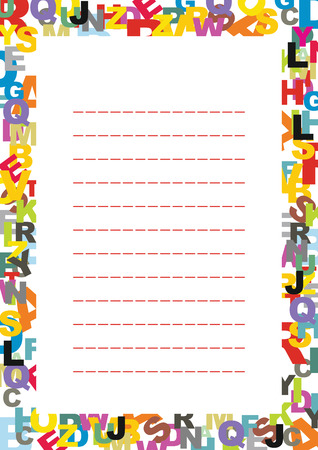 A page of notepad with abstract decorative frame with letters