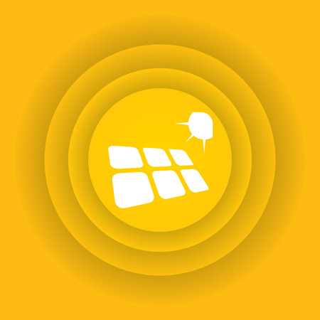 photovoltaics: Ecology icon, Solar energy sign on abstract background