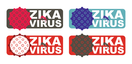 epidemy: Zika Virus with Alert label. Abstract medical illustration.