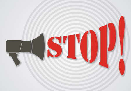 protest design: Megaphone with Stop text. Abstract illustration for your protest banner.