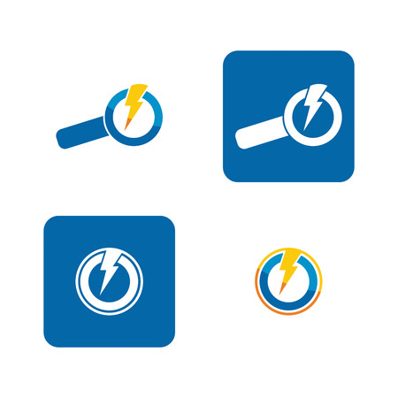 finder: Energy finder icon set with abstract power arrows