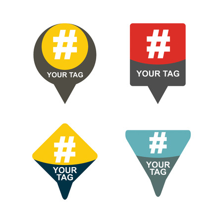 denote: Hashtag, communication sign set. Abstract illustration for your design.