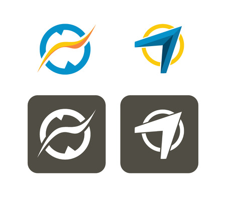 turn on: Abstract turn signal icon set