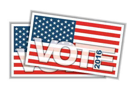 polling place: Voting concept. Bulletin with American flag Stock Photo