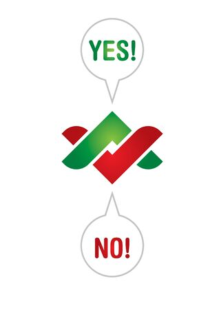 yes no: Communication concept with Yes and No arrows Illustration