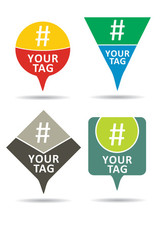 contributing: Hashtag set, communication sign. Abstract illustration for your design.