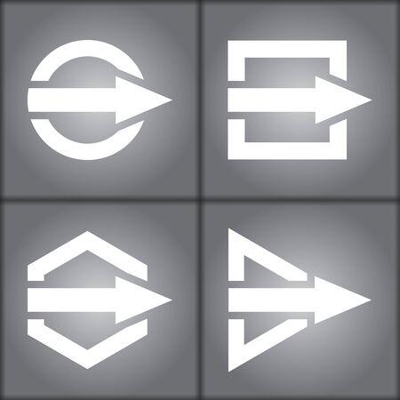 Communication concept - template with color arros set Çizim