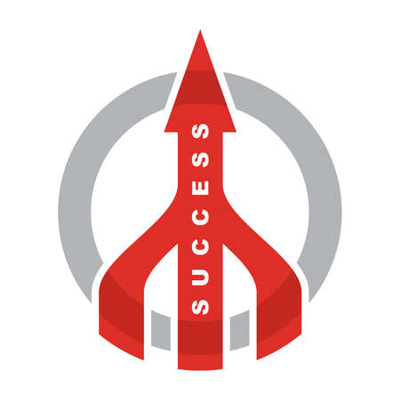 Sign off success. Red arrows with grey circle Illustration