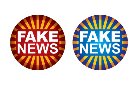 Fake news button for your illustration Çizim