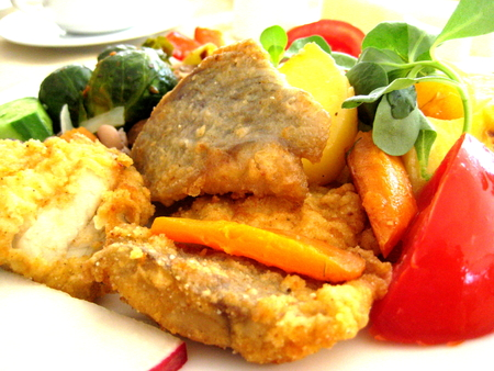 fried food: food fried fish with vegetables