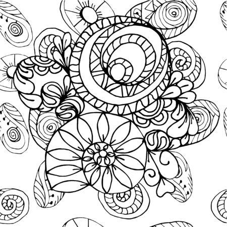 figuras abstractas: Extracto blanco y negro geométrico patrón de boceto