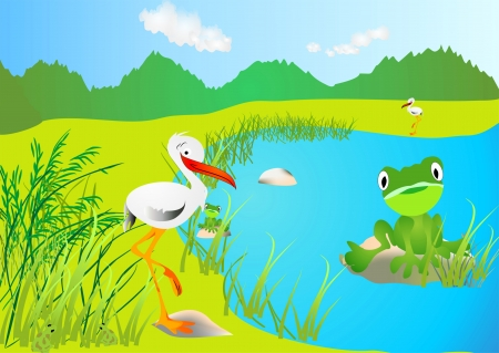 stork and frog Vector
