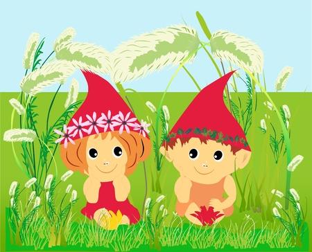 gemelos niÑo y niÑa: los elfos Vectores