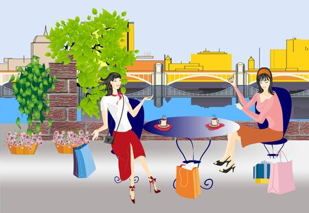after shopping: rest after shopping Illustration