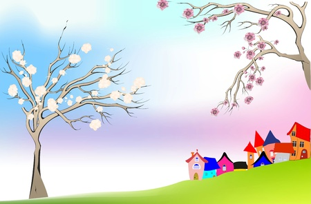 spring, trees, flowers, grass, houses, colors, countryside, day, design, illustration, flower, nature, painting, decoration, decorative, beautiful, design, plant, plant, season, seasonal, background, green, purple, blue, flora, color, florist, May, grow,  Stock Vector - 15052858