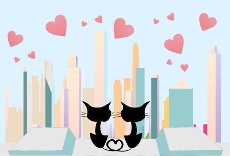in love cats Vector