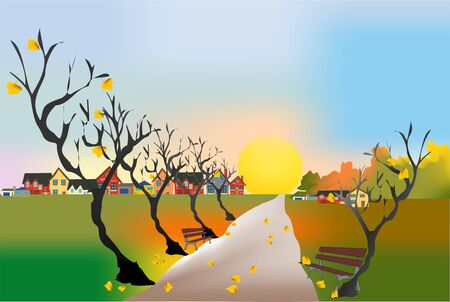 Autumn alley Stock Vector - 15970704