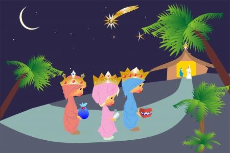 Drie koningen Vector Illustratie