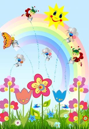 sun flower: spring Illustration