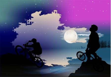 Night hike on bikes Stock Vector - 17456961