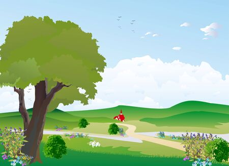 landscape with tree Stock Vector - 18872804