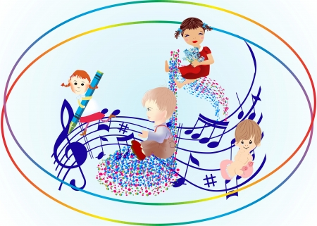 children s day with a song Vector