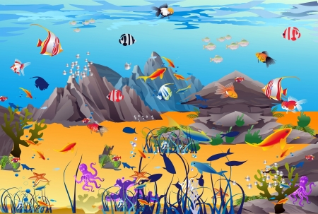 coral reef: underwater world Illustration