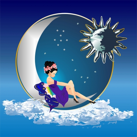 angel and the moon Vector