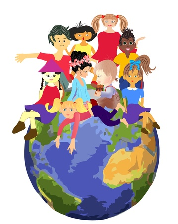 children s: Children planet Illustration