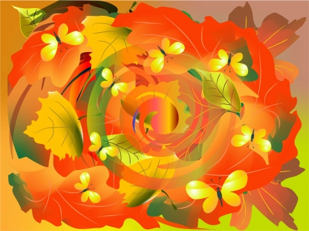 swirling leaves Vector
