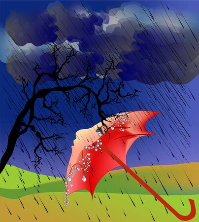 impression: Fall impression with umbrella Illustration