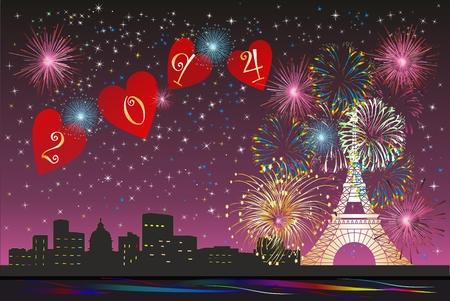 New Year in Paris, Vector