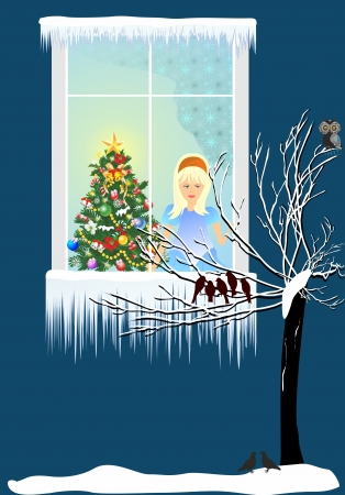 Christmas evening outside the window, Vector