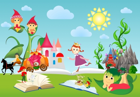 in the world of books and fairy tales Ilustracja