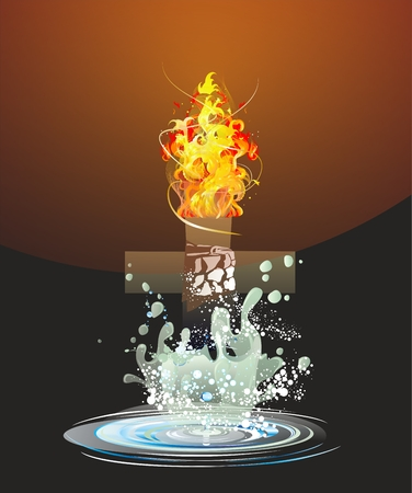 between water and fire Illustration
