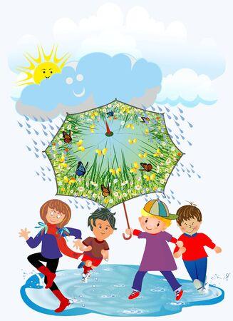 happy children and rain, Vector