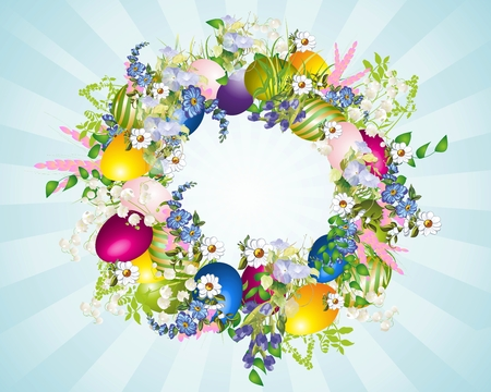Easter wreath, Vector
