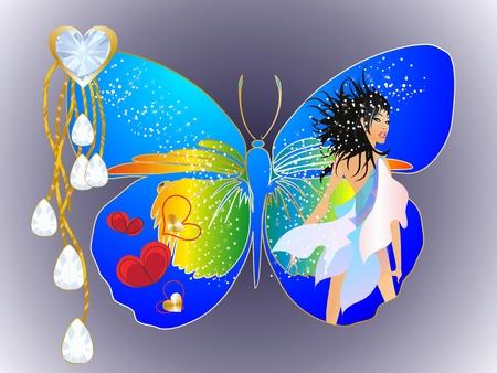 femme papillon: papillon femme,