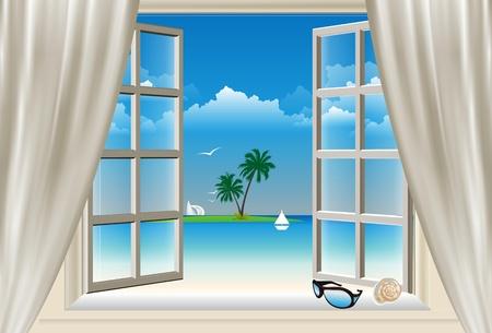 window open: the window,
