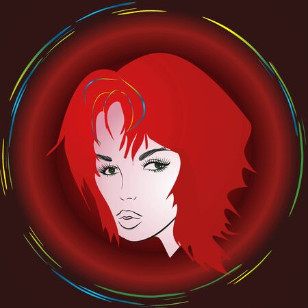 girl with red hair,  Vector