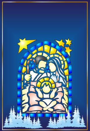 Stained Glass Christmas, Vector