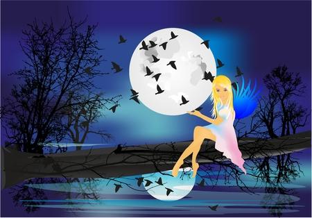 water nymph: Night nymph, Illustration