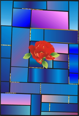 stained glass: Stained glass and flower, Illustration