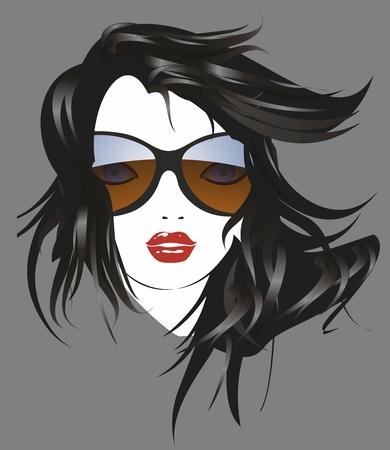 nice girl: The woman with sunglasses