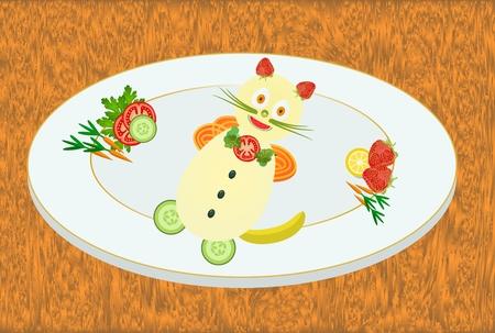banana bread: Kitten on a plate Illustration