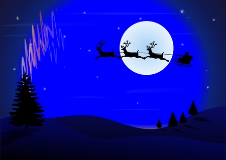 aurora borealis: Santa Claus arrived Illustration